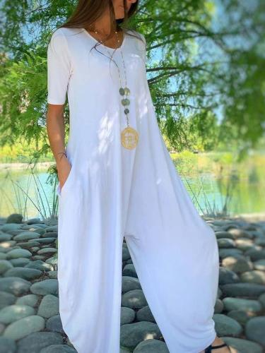 White Crew Neck Short Sleeve Shift One-Pieces
