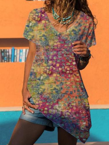 Summer v neck short sleeve women irregular hem T-shirts