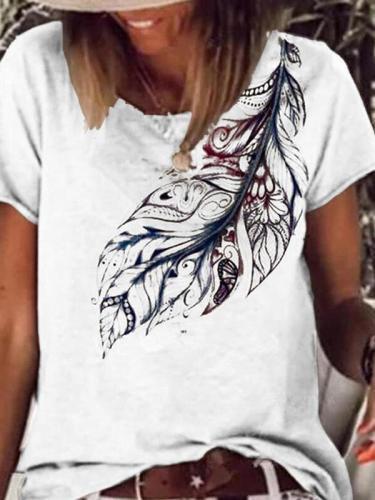 Round neck short sleeve leaf printed T-shirts