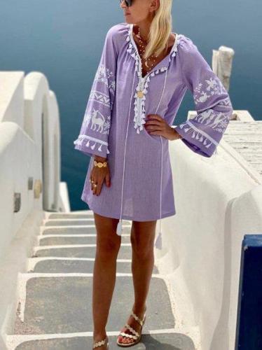Purple Tribal Cotton-Blend Shift Long Sleeve Dresses