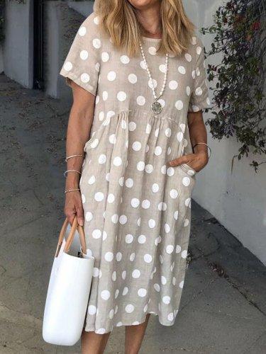 Light Gray Shift Short Sleeve Polka Dots Pockets Dresses