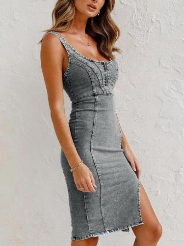 U neck denim women chic bodycon dresses