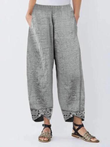 Casual Linen Floral Pants