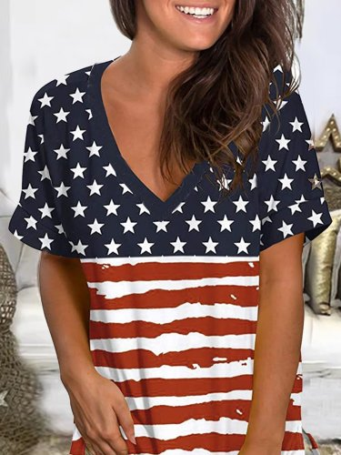 Floral-Print Short Sleeve Stripes Casual Shirts & Tops