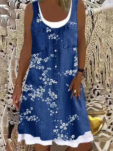 Daily Round neck Sleeveless Printed Shift Dresses