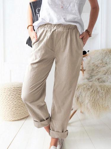 Pure color casual elastic high-waist straight-leg trousers long pants