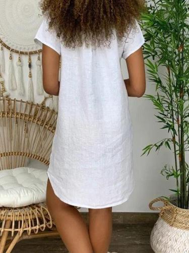 Loose short-sleeved V-neck cotton and linen butterfly print dress