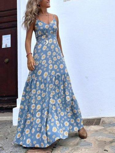 Blue Boho Spaghetti A-Line Floral Dresses