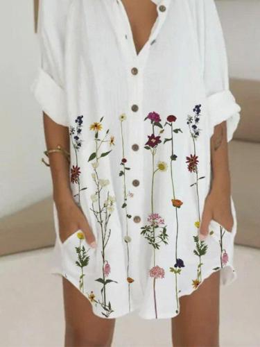 Long Sleeve Floral-Print Casual Dresses