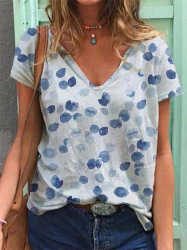 V Neck Printed Short Sleeve Casual Shirts & Tops