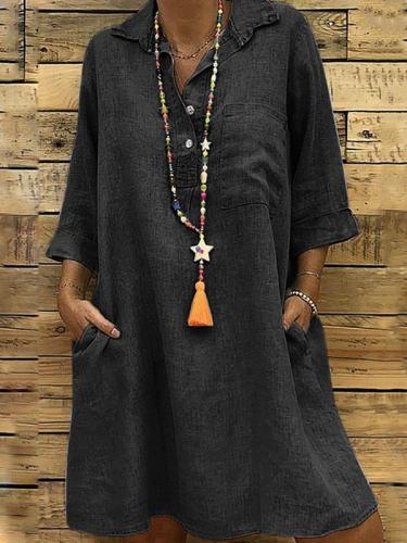 Loose Oversized 3/4 sleeve shirt turn down collar shift dresses