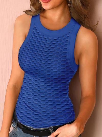 Women plain round neck sports vests