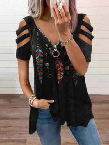 Zipper v neck women printed fashion off shouler T-shirts