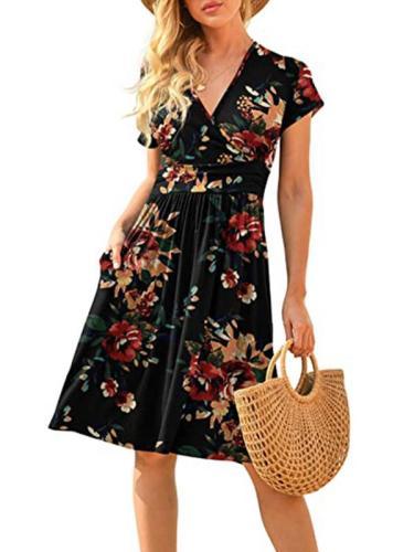 V collar short sleeve mini skirt printed skater dresses