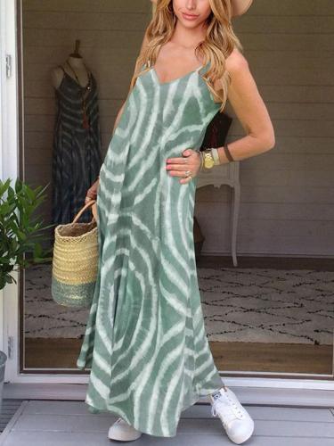 V neck printed fashion sleeveless casual maxi dresses
