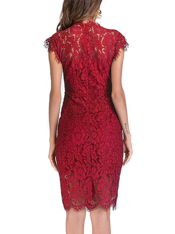 Women secy lace fashion short sleeve bodycon dresses evening dresses
