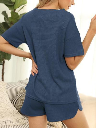 Women plain round neck short sleeve elegant suits