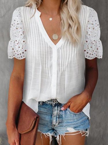 Chic women v neck fashion blouses