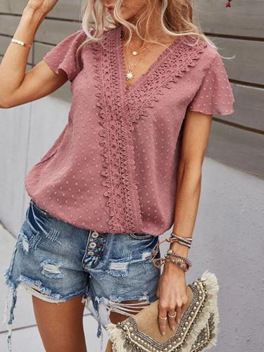 Sweet v neck short sleeve lace women blouses