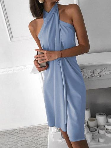 Women plain tie neck fashion Bodycon dresses