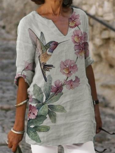 V neck printed women vintage T-shirts Tops