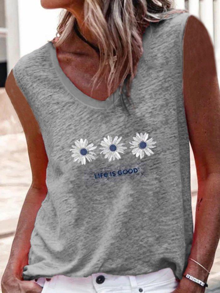 V neck sleeveless casual daisy vests