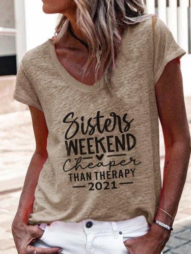 V neck Word printed women short sleeve T-shirts