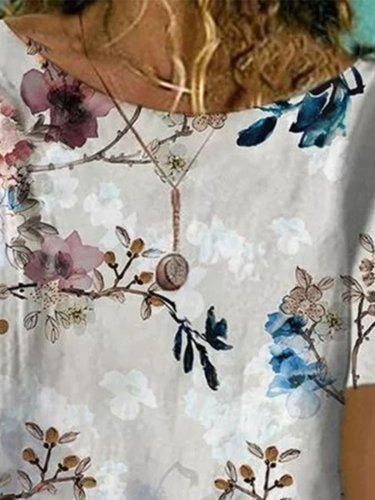 Round neck elegant flower printed short sleeve T-shirts
