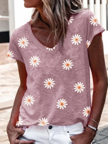 V neck flower Little daisy sweet casual T-shirts