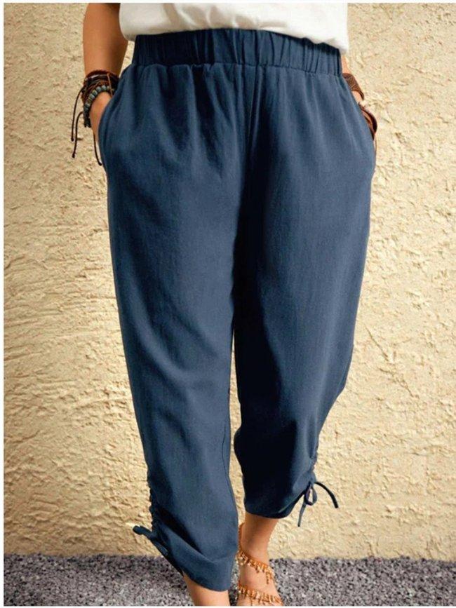 Dark_Blue Plain Cotton-Blend Casual Pants