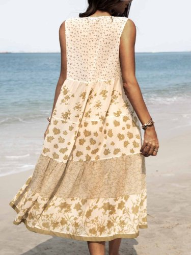 Vintage small floral mosaic dress