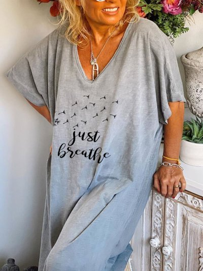 Women's Dandelion Faith JUST BREATHE Printed Cotton And Linen Dress