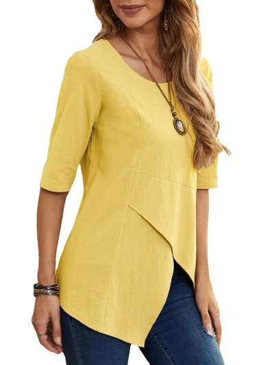 Casual Cotton-Blend Half Sleeve Crew Neck Shirts & Tops