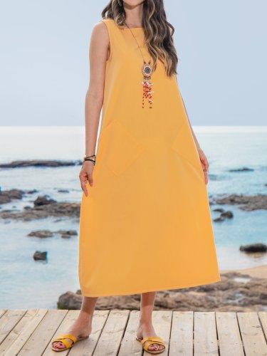 Summer Maxi Pockets Dresses Women Plus Size Solid Sleeveless Crew Neck Dresses