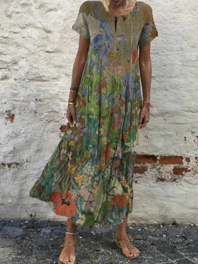 Khaki Vintage Short Sleeve Floral Dresses