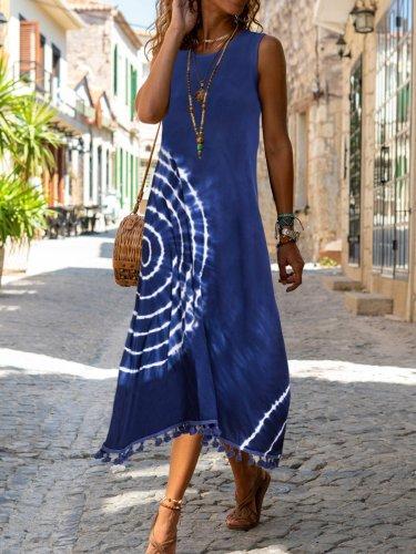 A-Line Crew Neck Cotton-Blend Casual Dresses