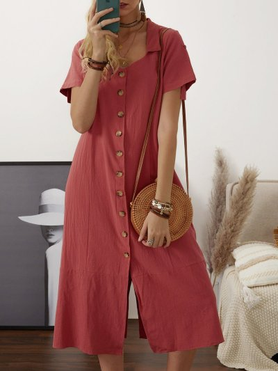 Summer Buttoned Solid Casual Shirt Dresses