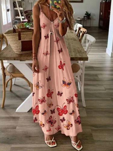 Casual Spaghetti-Strap A-Line Butterfly Printed Dresses