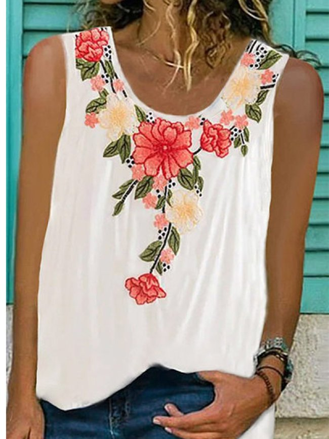 Printed Sleeveless Round Neck Casual Shirts & Tops