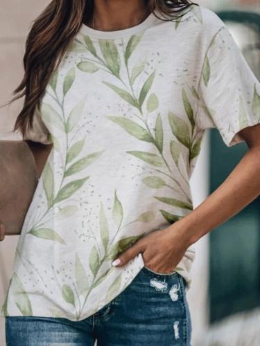 Crew Neck Floral Print Short Sleeve Shirts & Tops