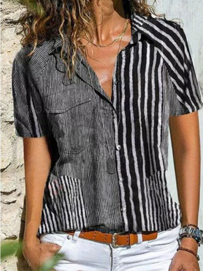 Summer Striped Pockets Blouses Casual Short Sleeve Tops