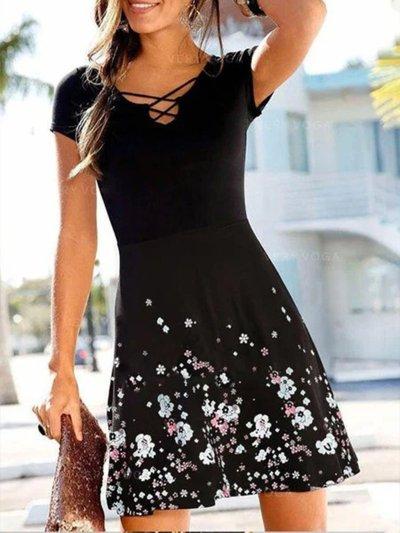 Short Sleeve Printed V Neck Floral Dresses