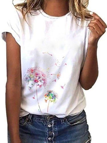 White Short Sleeve Round Neck Shirts & Tops