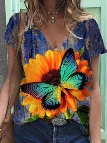 Short Sleeve Butterfly Casual Shirts & Tops