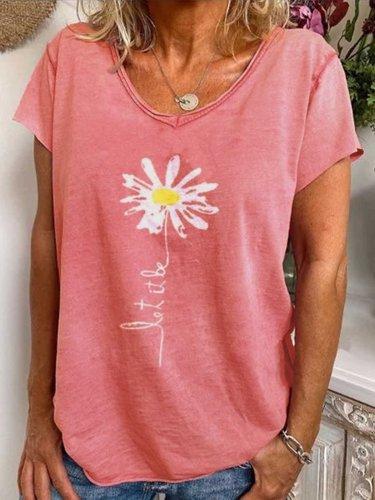 Pink Cotton-Blend Short Sleeve Shirts & Tops