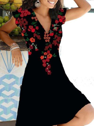 Short Sleeve Sweet Printed Dresses