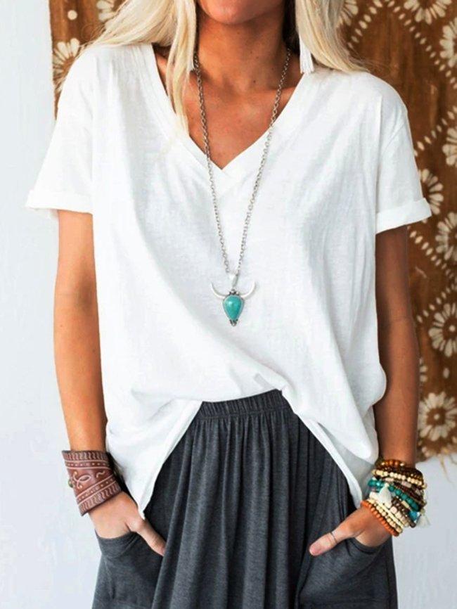 Cotton Short Sleeve Plain Casual Shirts & Tops