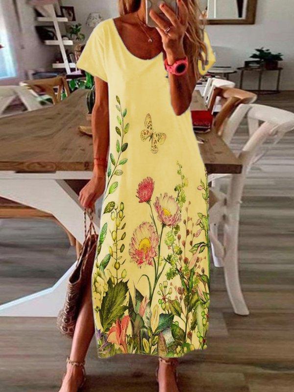 Casual Short Sleeve Scoop Neckline Floral Dresses