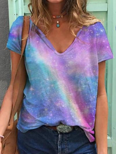 Purple Short Sleeve V Neck Casual Shirts & Tops