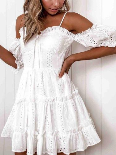 White A-Line Plain Spaghetti Sleeveless Dresses